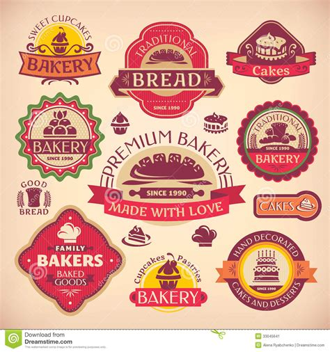 Pastry Kitchen Design Set Of Vintage Bakery Labels Stock Image Image 33045641