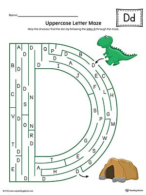 printable maze letter d uppercase letter d styles worksheet color