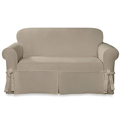 slipcovers bed bath and beyond sure fit 174 designer twill loveseat slipcover bed bath