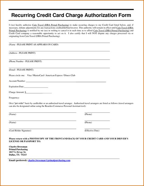 Sle Form For Credit Card Authorization 11 Recurring Credit Card Authorization Form Lease Template