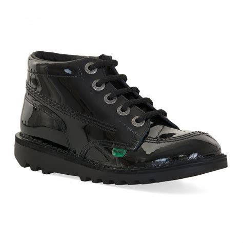 Kickers Brand Sneakers Boot 100 Cow Leather High Quality kickers youths kick hi patent boots black from
