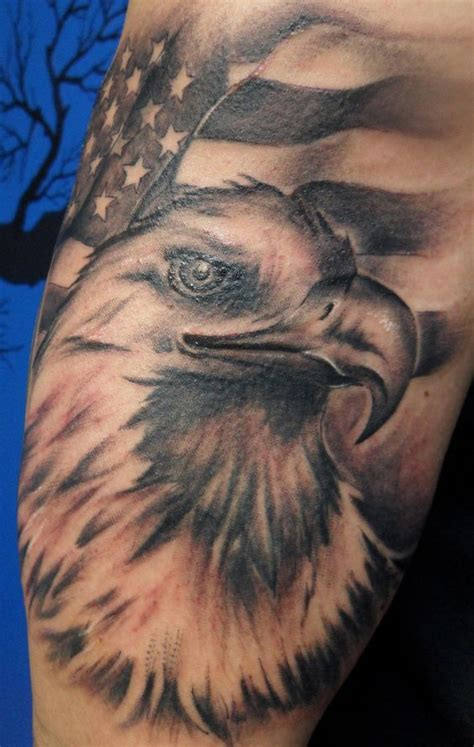 american flag tattoo black and white american flag with bald eagle black and white