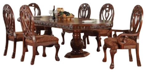 vendome traditional formal dining room cherry finish 7 piece quinlan cherry finish wood double pedestal formal