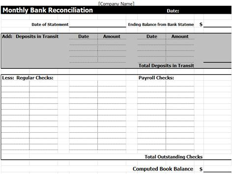 monthly bank reconciliation template monthly bank reconciliation template excel
