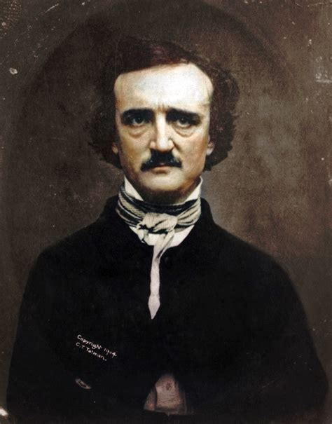 a by edgar allan poe 19c american colorized photo of edgar allan poe