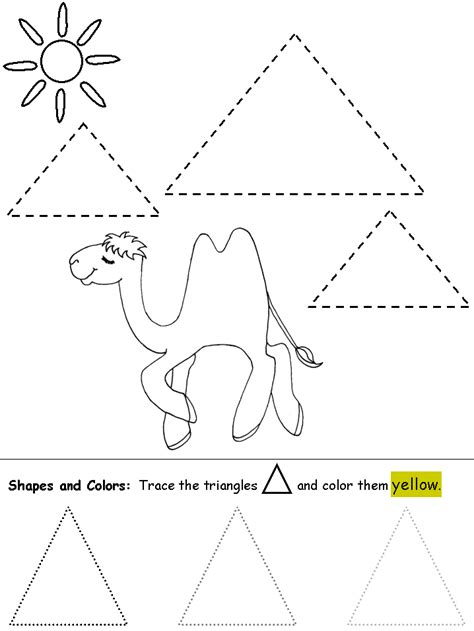 triangle printable worksheets for preschoolers free coloring pages of tracing triangles