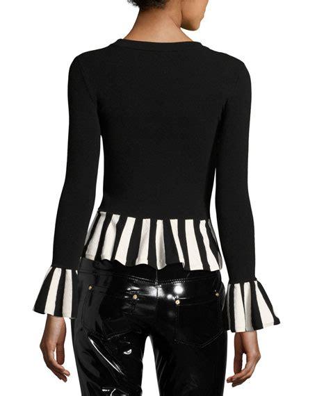 Sleeve Striped Trim Top boutique moschino sleeve striped trim peplum top