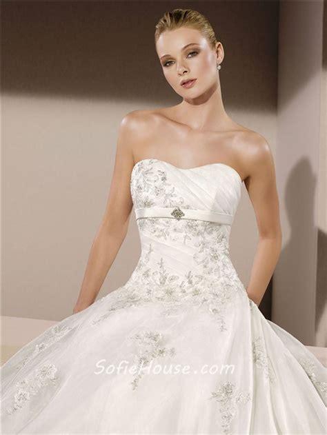 gown strapless organza applique beaded wedding dress