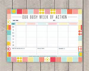 diy family weekly planner printable mid century organiser in