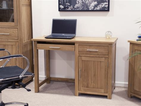 Eton Solid Oak Modern Furniture Small Office Pc Computer Small Oak Computer Desks For Home