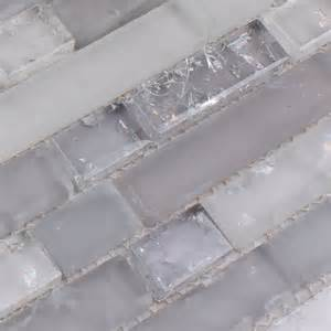 Wholesale Backsplash Tile Kitchen Frosted Glass Mosaic Tile Backsplash Interlocking Crackle