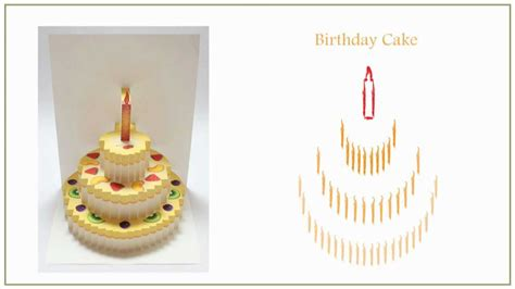 3d birthday cake card template pop up cards ebook vol 3 origamic architecture