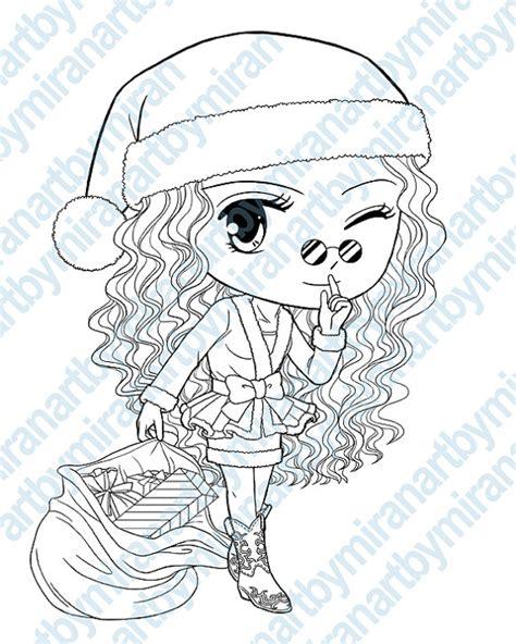 christmas digital st cute girl santa coloring by artbymiran