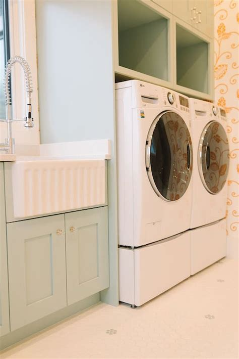 Laundry Room Cabinet Height Built In Washer And Dryer Pedestal Platform Cottage Laundry Room Benjamin