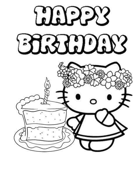 hello kitty single cake birthday coloring page h m