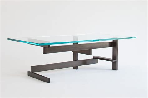 handmade modern metal and glass coffee table by ck