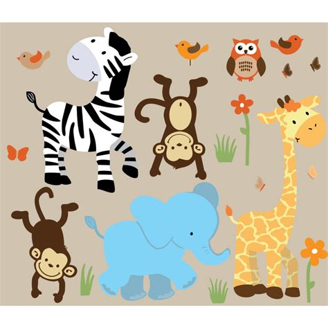 Colorful Jungle Wall Decals For Nursery With Zebra Wall Animal Wall Decals For Nursery