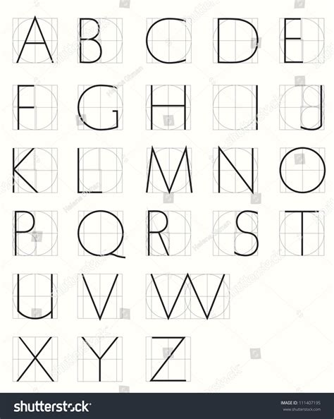printable alphabet grid roman skeleton capitals with geometric grid minuscule