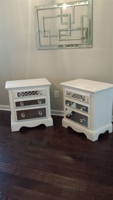 Mirrored Dresser And Nightstand Set by Mirrored Nightstand Set With Overlay White Chic