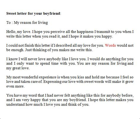 Letter To Your Boyfriend sle letters to boyfriend 16 free documents in