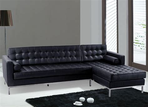 sofas modern black leather sectional sofa black color