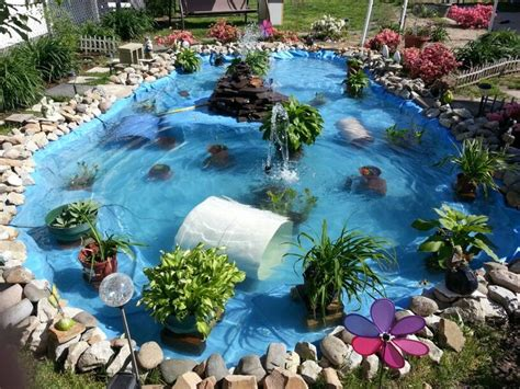 backyard pond liners quot ponds by becky quot great idea a family friend made with a recycled pool liner each time i see it