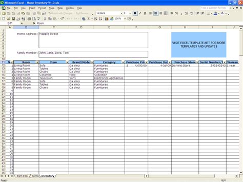 Home Inventory Excel Templates Inventory Worksheet Template