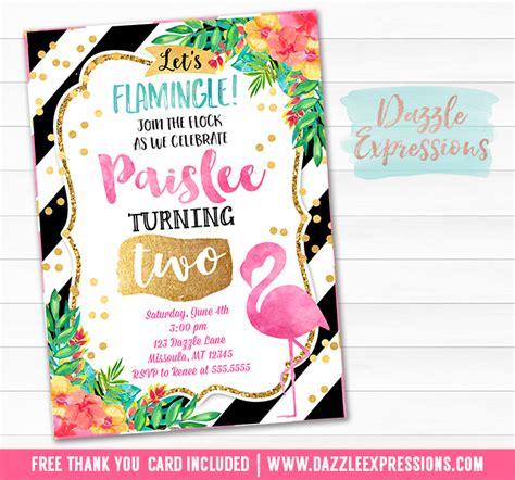 Printable Watercolor Flamingo Birthday Invitation Luau Tropical Girl Summer Invite Free Flamingo Invitation Template Free