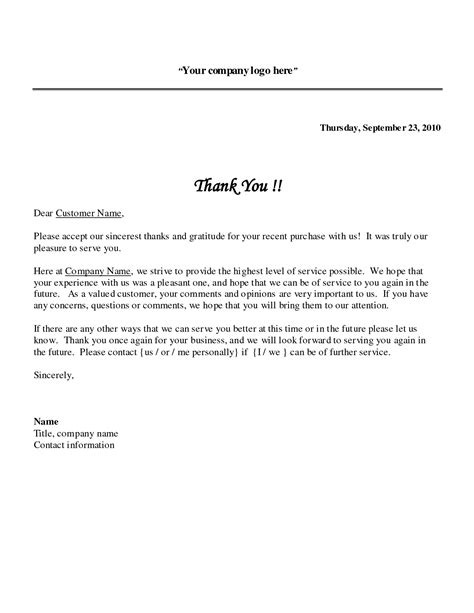 Thanks For Your Business Letter Template sle thank you letter format best template collection