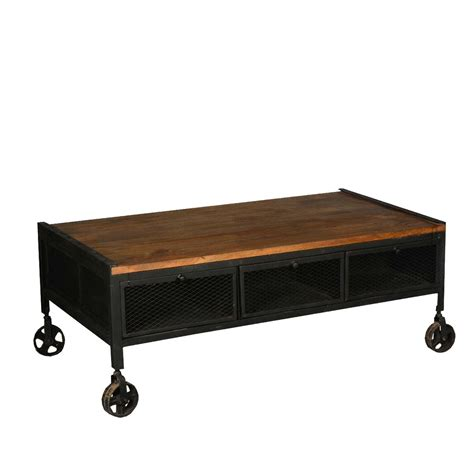 aiden industrial rustic coffee table with drawers