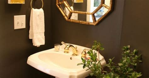 our powder room makeover from damask to emily sherwin williams urbane bronze our powder room makeover from damask to emily a clark