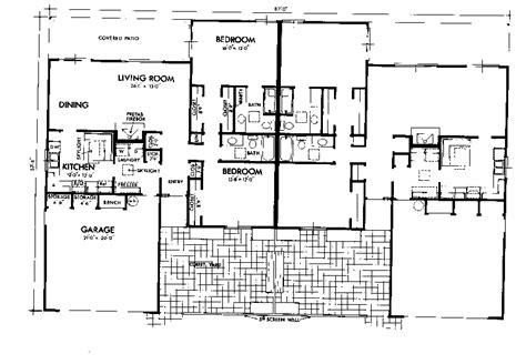 shaw park southwestern duplex plan 072d 0744 house plans