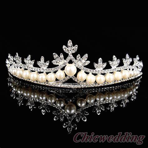 Wedding Crown graceful pearl and rhinestone wedding crown maple leaf inspired bridal tiara ebay