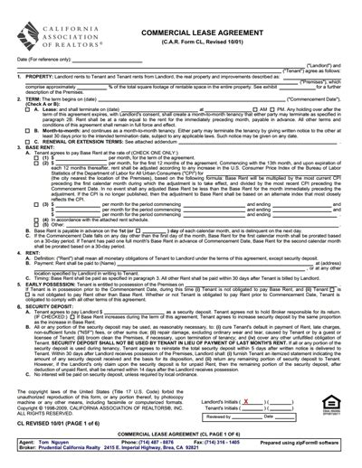 commercial lease agreement template free download create
