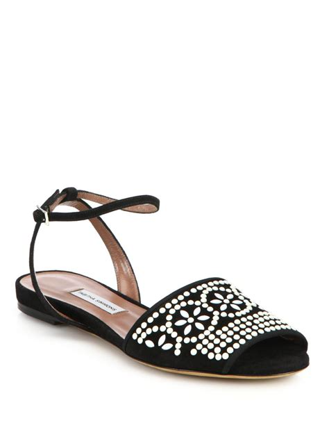 simmons sandals simmons beaded flat suede sandals in black lyst