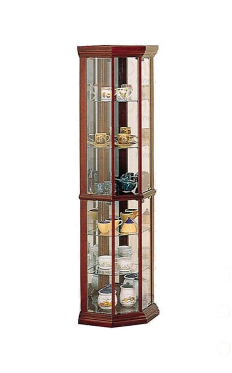 Wood And Glass Corner Display Cabinets by Cherry Wood Glass China Display Corner Curio Cabinet