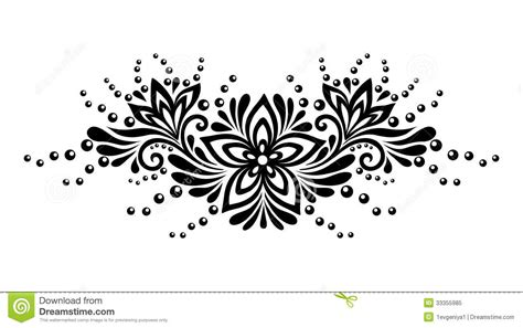 design black and white black and white lace flowers and leaves isolated on white