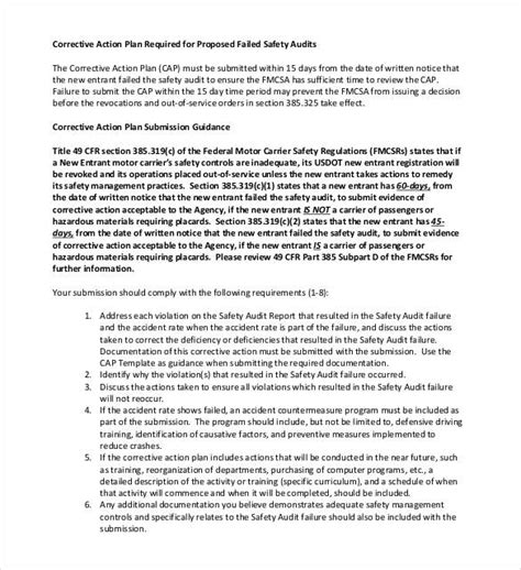 Fmcsa Corrective Plan Template Corrective Action Plan Template 25 Free Word Excel Pdf