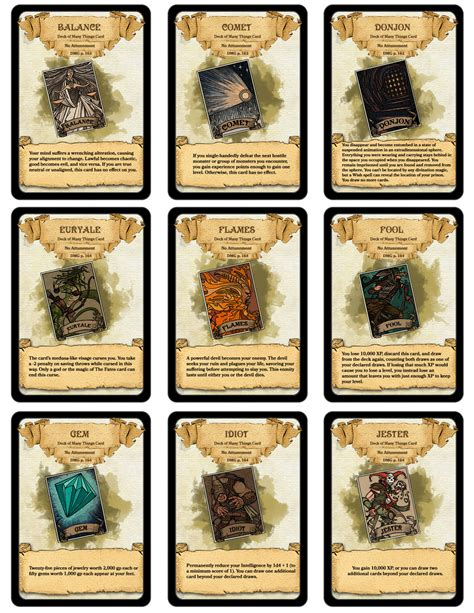 d d 5e item card templates dm paul weber deck of many things cards all 22 cards