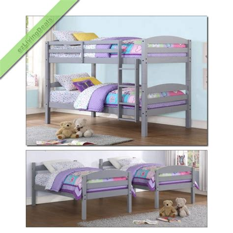 convertible bunk beds twin over twin bunk beds for boys girls kids bunkbeds