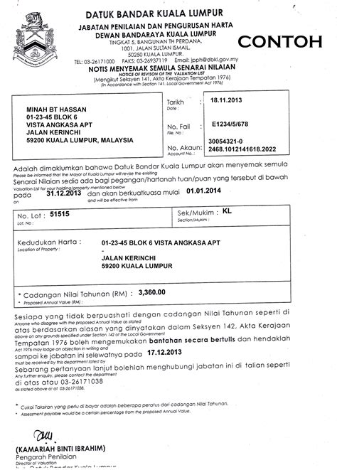 contoh surat rasmi kepada majlis perbandaran 12 contoh o
