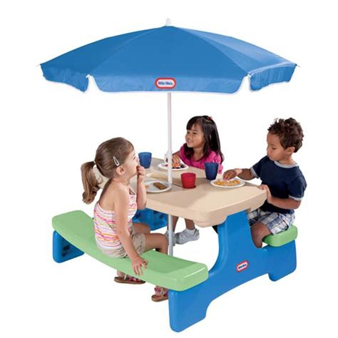 tikes easy store picnic table with blue umbrella tikes easy store picnic table with blue umbrella
