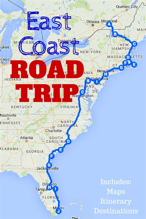 road trip maps of the usa the best east coast road trip itinerary