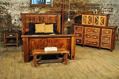 crafted rustic bedroom set reclaimed barnwood by