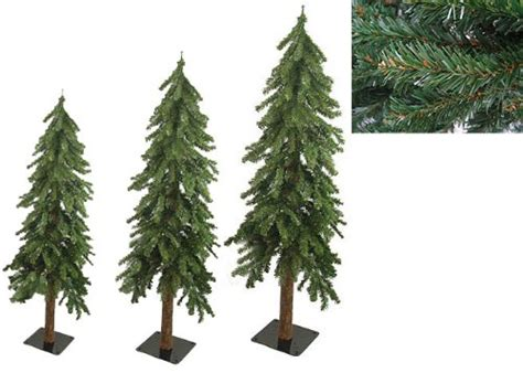 set of 3 downswept woodland alpine artificial christmas