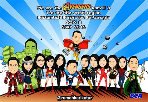 karikatur rekan kerja bank bca tema avengers rumah karikatur