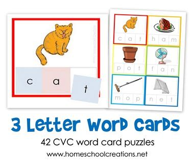 three words books three letter word cards free printable