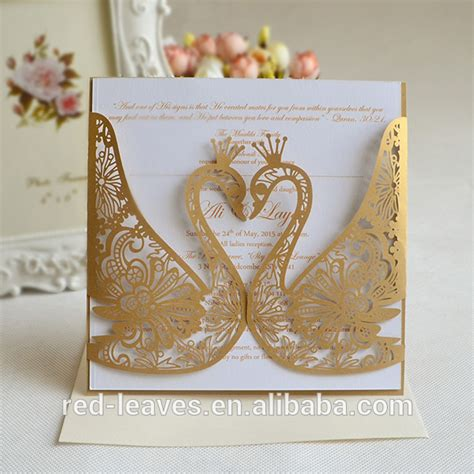 Swan Wedding Invitation Cards by Guangzhou Black Lace Folding Wedding Card Laser Cut Swan