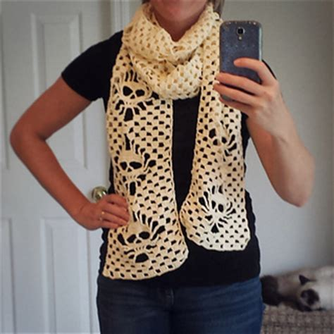 knitting pattern skull scarf ravelry narrow crochet skull scarf pattern by karin kaufmann