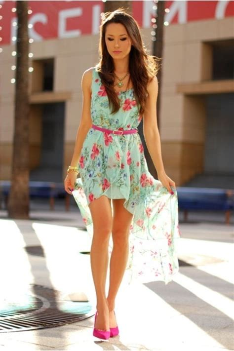 sleeveless asymmetrical mint green floral chiffon dress